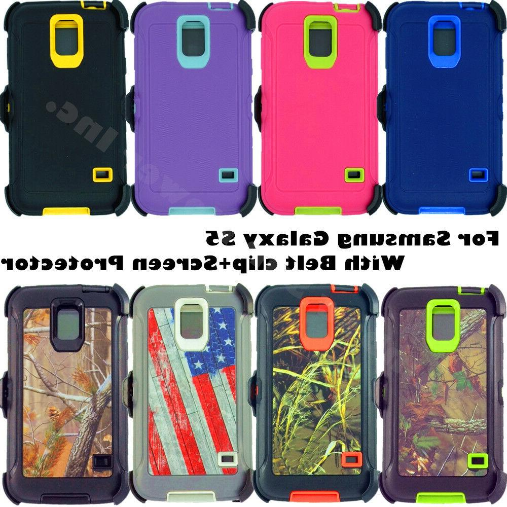 for Samsung Galaxy S5 Defender Case Cover w/ screen & belt c