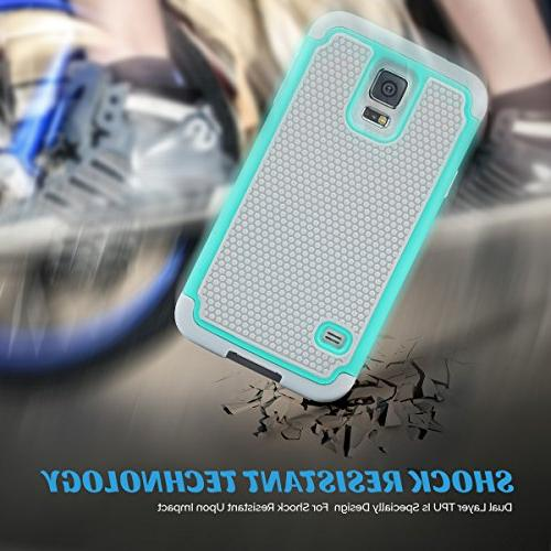 ULAK S5 Phone Knox Armor Shockproof Silicone PC Shell Protective Cover Galaxy S5 S V I9600 Mint Green/Gray