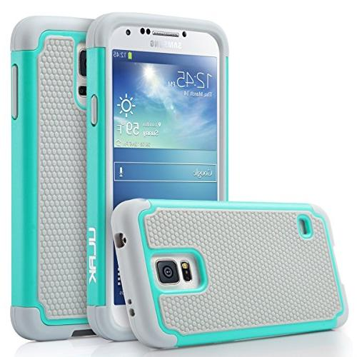 ULAK S5 S5 Phone Knox Armor Slim Shockproof Hybrid Silicone Rugged Hard PC Cover for Samsung S5 V I9600 Mint Green/Gray