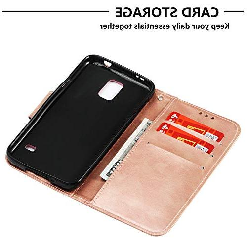 Abtory Galaxy S5 Case, Book Style Flip PU Full Body Protective for Samsung Galaxy S5 I9600 Rose Gold