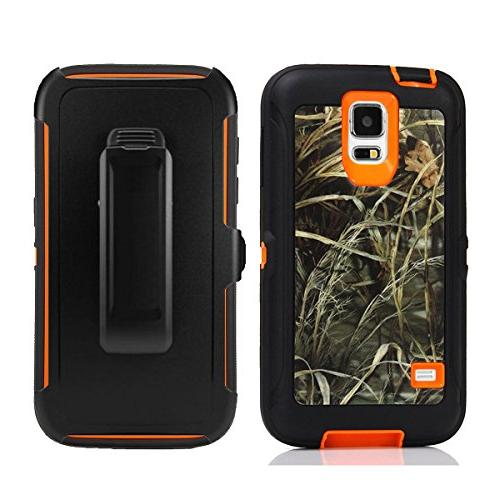 Galaxy S5 Holster Harsel Duty Tree Impact Rubber Clip Built-in Protector Case Cover for S5