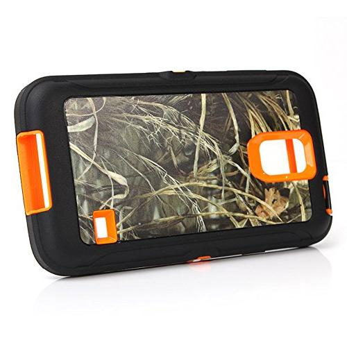 Galaxy S5 Harsel Series Duty Tree Camo Impact Tough Rugged Rubber Protective w' Clip Screen Case Cover for S5