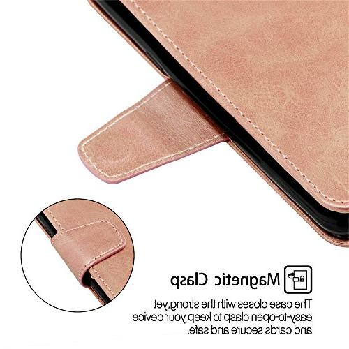 Abtory Galaxy Wallet Case,3D Bling Book Style Flip Full Body Absorption Protective Phone Case Samsung Rose