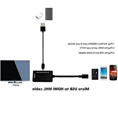 Micro HDMI Cable Converter, 1080P for Phone and Function, compatible with Samsung Galaxy Note 4/3/2