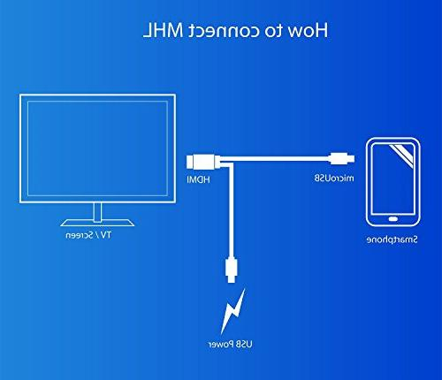 Jmday 1080P Micro USB to HDMI with Video Output for Android S3/S4/S5 Tab Tab 8 12.2