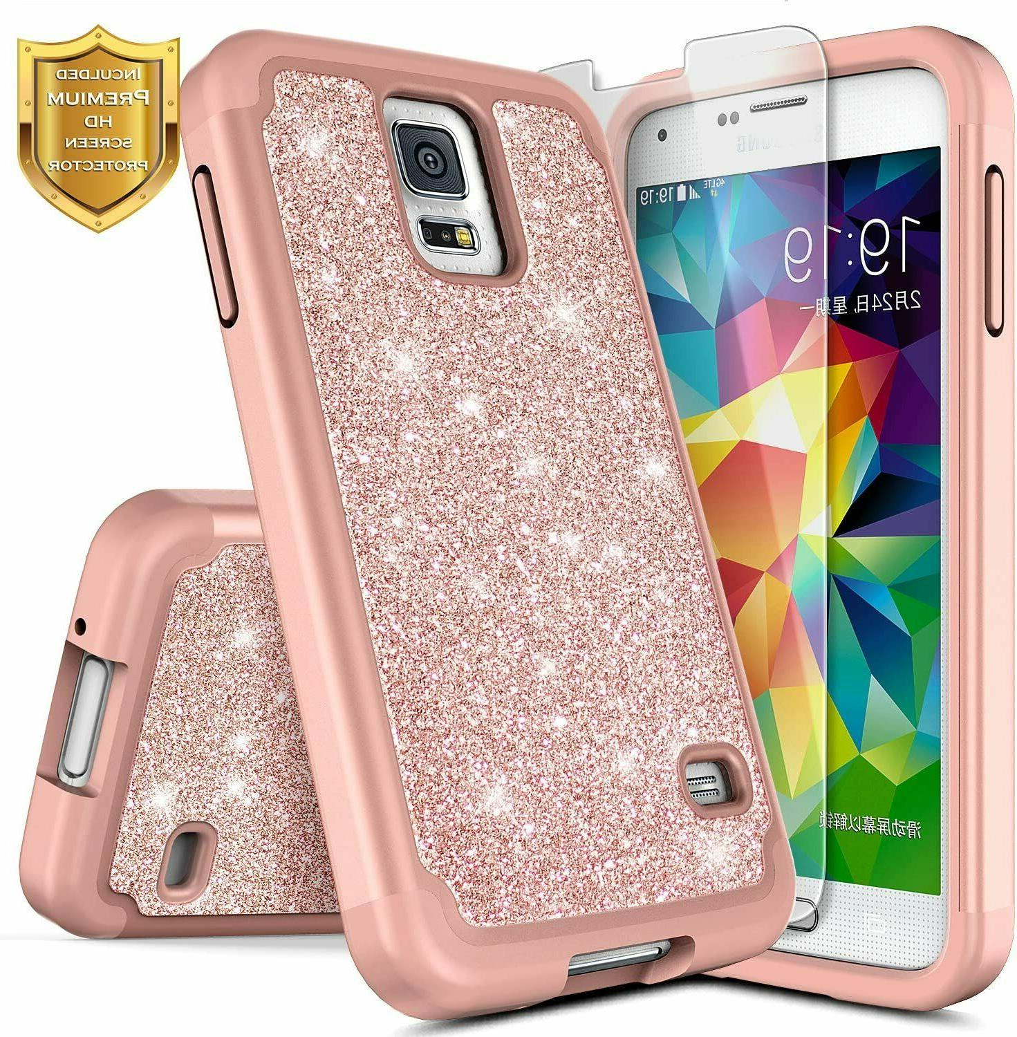 For Samsung Galaxy S5 Case Glitter Bling Hybrid Phone Cover