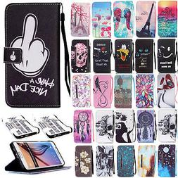 Magnetic Pattern Leather Wallet Stand Case Cover For Samsung