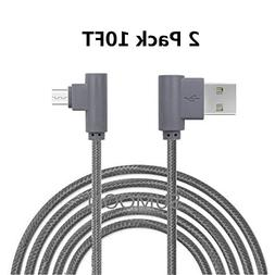 SUMOON Micro USB Cable, 10FT+10FT 90 Degree Right Angle Nylo