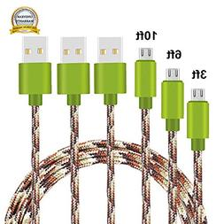 Micro USB Cable, MCUK 3Pack Extra Long Nylon Braided High Sp