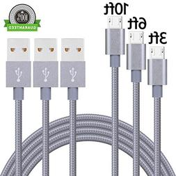 SUMOON Micro USB Cable,3Pack 3FT 6FT 10FT Long Nylon Braided