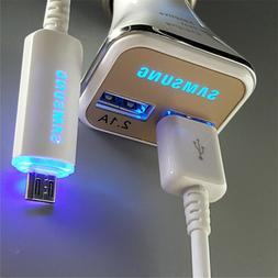 Original LED Fast Car Charger + USB Cable for Samsung Galaxy