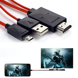 Phone to Tv Cable,6.5 Feet 11 Pin Micro USB to HDMI Adapter