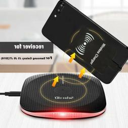 Qi Wireless Charging Pad+Receiver For Samsung Galaxy S9 S8 S