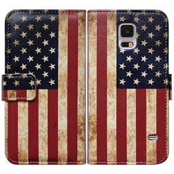Bcov Brand Retro American Flag Card Slot Wallet Leather Cove