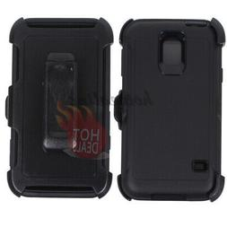 For Samsung Galaxy S5 Black Defender Case Cover
