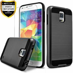 For Samsung Galaxy S5 Case, Dual Layer Shockproof + Tempered