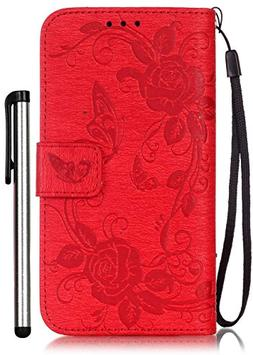 Samsung Galaxy S5 Flip Case Floral Red Leather Wallet Full B