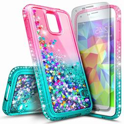 For Samsung Galaxy S5 Case Liquid Glitter Bling TPU Cover +