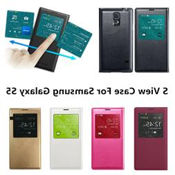 For Samsung Galaxy S5 S View Flip Cover Leather Folio Window