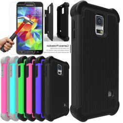 For Samsung Galaxy S5 Shockproof Case Cover with Tempered Gl