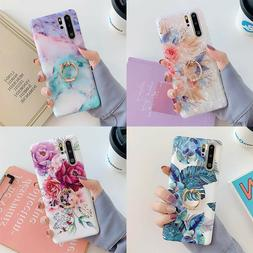 For Samsung Galaxy S8 S9 S10 Plus Note 8 9 10 Marble Flower