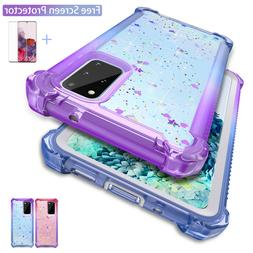 For Samsung Galaxy S9 S10 S20 Plus Case Clear Glitter Shockp