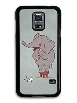 Scared Elephant on a Stool and Mouse Funny Illustration case